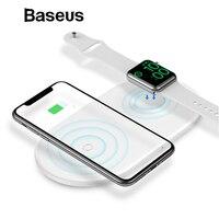 Baseus 2 в 1 Беспроводной Зарядное устройство для iPhone X XS Max XR Apple Watch 4 3 2 Зарядное устройство для samsung S8 S9 10 W быстрая Беспроводной зарядного устрой...