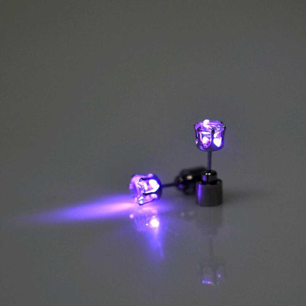 FAMSHIN Лидер продаж 1 шт. очарование светодиодов свет до Корона Светящийся Кристалл нержавеющей Серьги Капельки серьги ювелирные изделия 2018