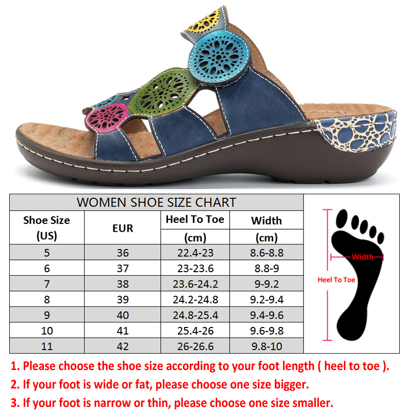 Socofy 정품 가죽 캐주얼 슬리퍼 여성 신발 슬라이드 여름 해변 슬리퍼 빈티지 할로우 아웃 후크 & 루프 플랫 힐 신발 신규-에서슬리퍼부터 신발 의  그룹 3