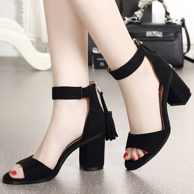8b2f4263c26 Summer Shoes Woman Sandals High Heels Sandal Fringed Cover Heels Sandal  Ankle Strap Pumps Open Toe sandalias mujer 6216