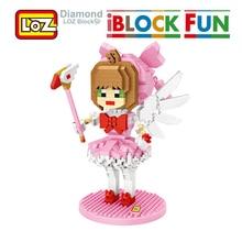 LOZ Sakura Karte Captor Abbildung Modell Blöcke Spielzeug iBlock Spaß Diamant Action Cartoon Tarot Sailor Moon Für Kinder Mädchen Kid geschenk