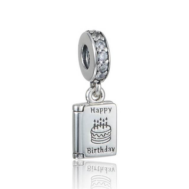 1e1bc212a Fits Pandora Charms Bracelet Birthday Card Dangle Charms With CZ & Happy  Birthday Best Wishes Charm
