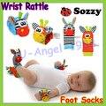 Wholesale 40pcs/lot baby rattle toys Sozzy Garden Bug Wrist Rattle and Foot Socks 4 style (2 pcs waist+2 pcs socks) (10 set)