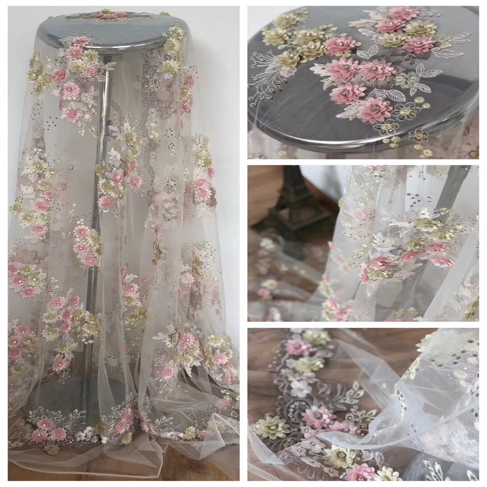 Europe And America Fashion African French 3d Flower Embroidery Tulle Evening Dress Lace Fabric X419 01