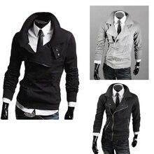 ZOGAA Black Men Double Collar Long Sleeve New Fashion Inclined Zipper Casual Hoodies