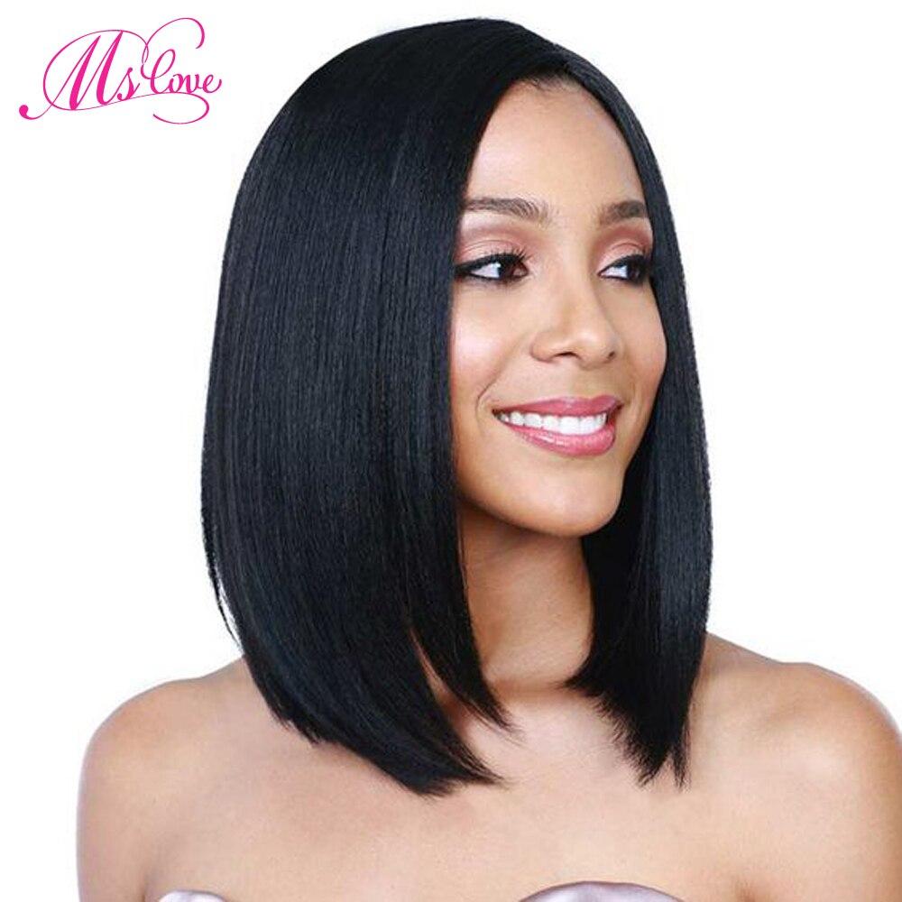 Ms Love dentelle avant perruques de cheveux humains courte droite Bob perruque avec des cheveux de bébé brésilien dentelle frontale perruque pour les femmes noires Non Remy