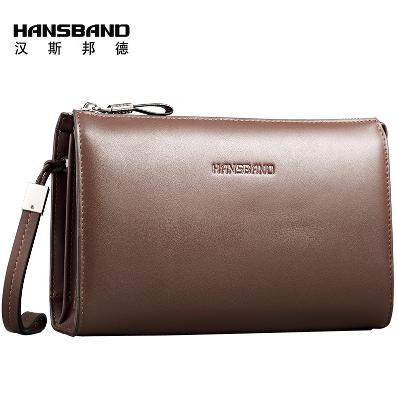 HANSBAND 2017 New High Quality genuine Leather Mens Clutch Wallet Brand Men Purse Big Capacity Brown/Black Leather Clutch Bag hansband luxury brand men clutch wallet genuine leather hand bag classic multifunction mens high capacity clutch bags purses