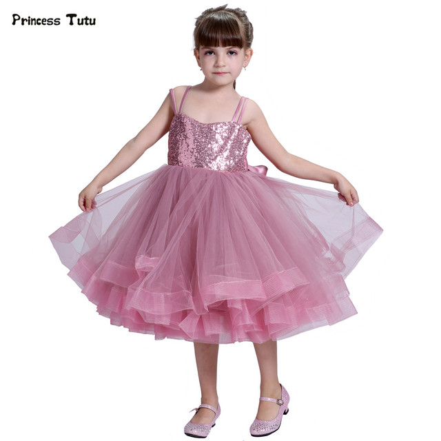 High-end Custom Sequins Girl Party Dress Tulle Wedding Pageant Ball Gown  Girl Princess Tutu Dress Kids Pink Flower Girl Dresses 641118c04784