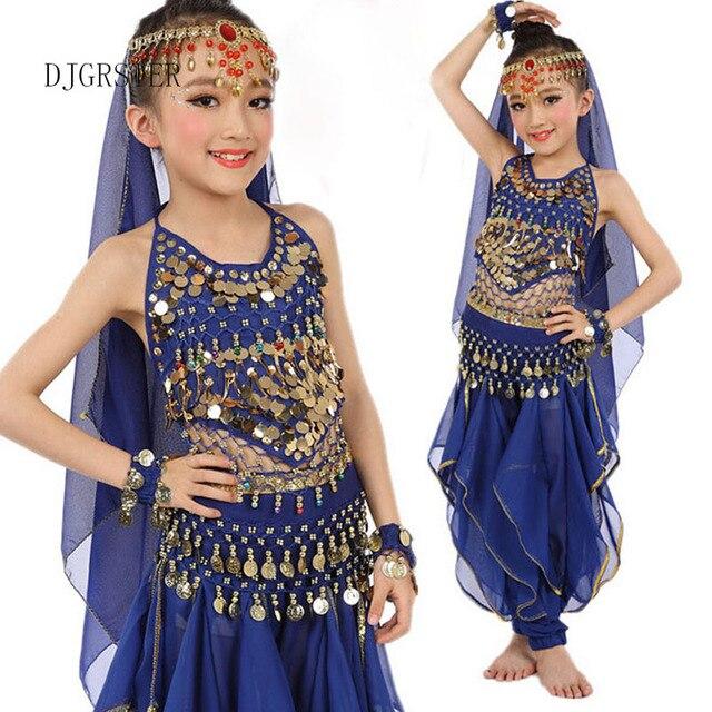 99bbeb839fb9d DJGRSTER indien Sari fille robe Orientale Enfant indien Costumes pour enfants  danse Orientale Costumes danse du