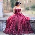 Barato vestidos de quinceañera Dulce 16 vestidos vestido 15 anos dburgundy quinceañera vestidos robe de bal 2017 debutante vestido