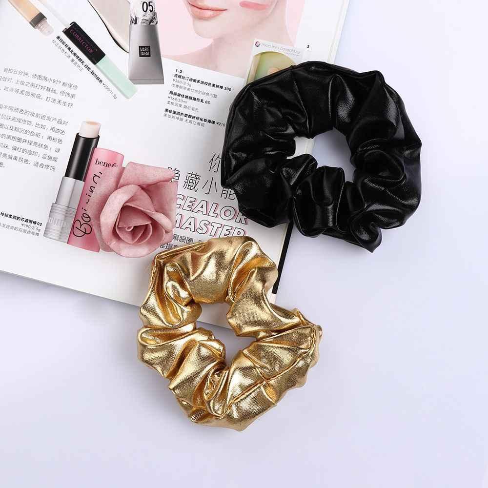 ผู้หญิงสีดำ Pu หนัง Faux Elastic Hair Ties หญิง Hairband เชือกผมหางม้า Scrunchie Headbands อุปกรณ์เสริม