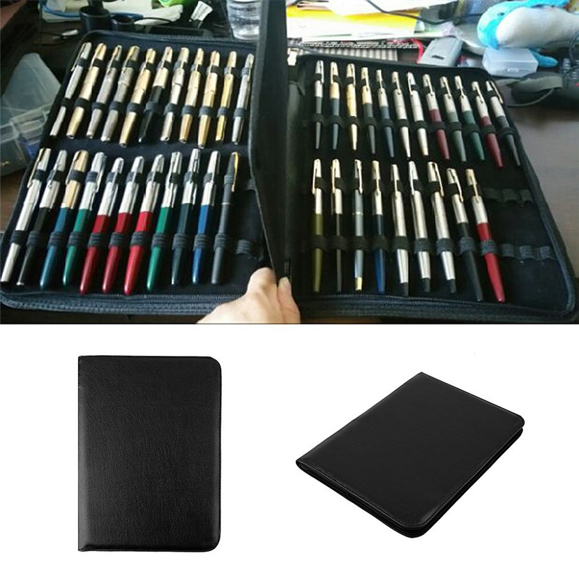 Black Fountain Pen/Roller Pen Black Color PU Leather Zipper Case for 48 Pens Popular Office College admitted Gift