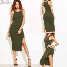 JIN SHE 2017 New Style Solid Women Dress Winter Autumn 2017 Women Fall Fashion Designer Side Slit Ribbed Cami Dress