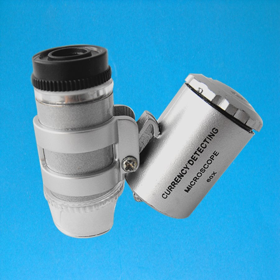 60X Mini Pocket Magnifier Loupe Portable Jewelry Microscope with LED UV Light NO.9882