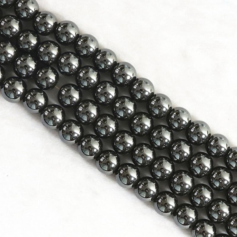 Természetes kő fekete hematit gyöngyök kerek laza gyöngy kő - Divatékszer