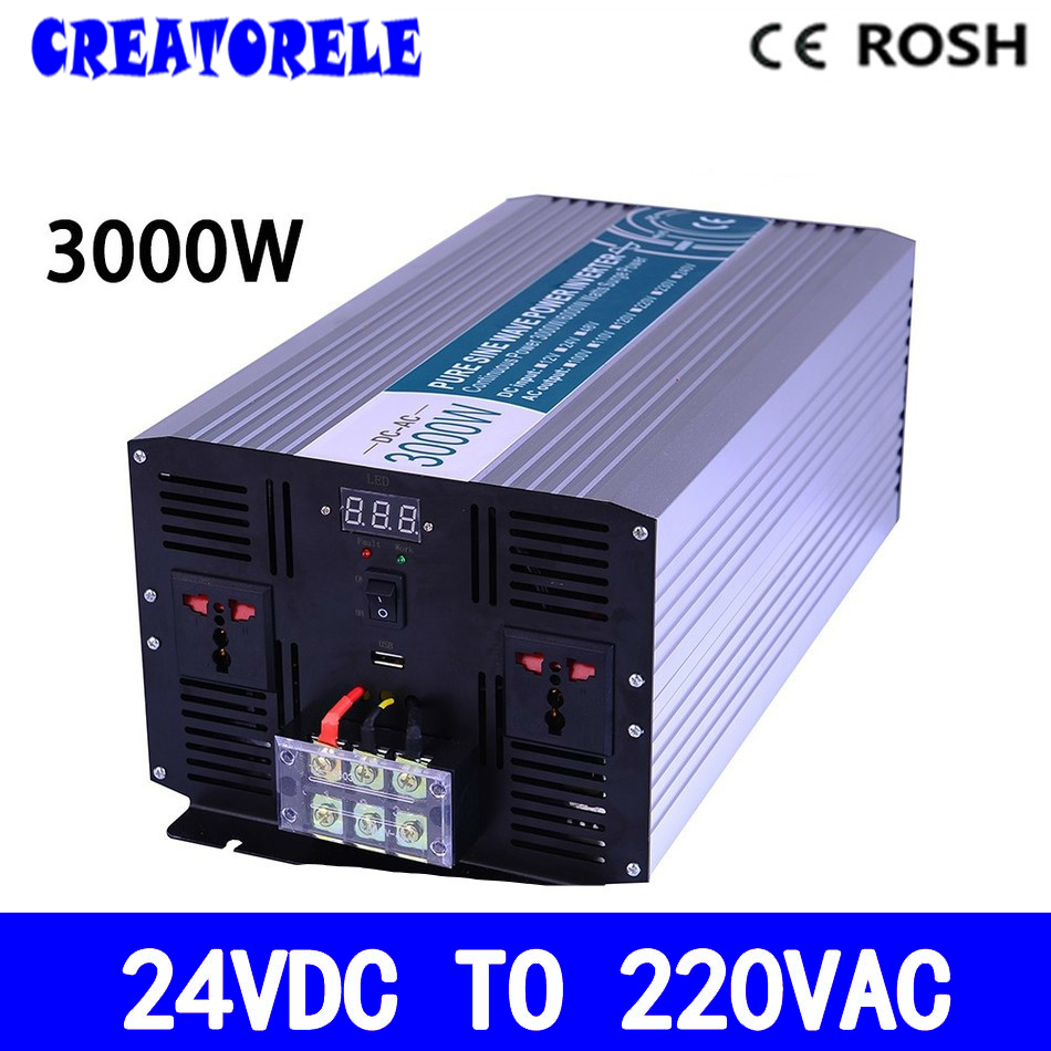 P3000 242 Dc Ac Solar Inverter 3000w 24v To 220v Power Pure Sine Wave Voltage Converter