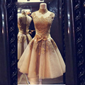 Champagne Dresses Cocktail 2016 Vestidos Curtos De Festa Cheap Short Graduation Dress for Juniors