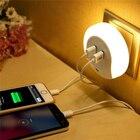 LED Night Light Sensor 2 USB Charging Socket Mobile Phone Charger 110V 220V 0.5W LED Night Lamp With Sensor Warm White