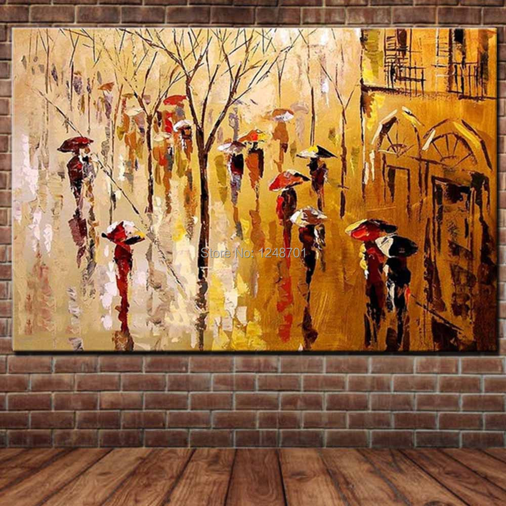 Hand Painted Abstract Palette Knife Rainy Scenery Oil Painting Canvas Art Umbrella Wall Picture Living Room Home Wall Decoration