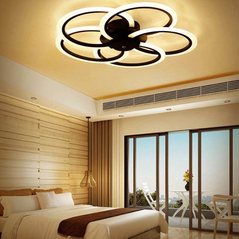 Neue Moderne Led Deckenleuchte Wohnzimmer Schlafzimmer Weiss Schwarz Aluminium Runde Lamparas De