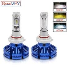 BraveWay супер светодиодный лампы H4 H7 светодиодный двойной Цвет фар лампы 3000 K 6500 K 8000 K 12 V 12000LM 9005 9006 HB3 HB4 H8 H11 светодиодный лампы