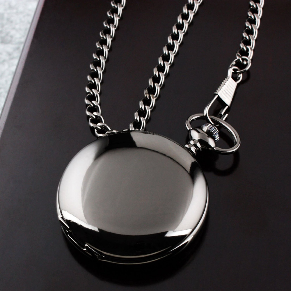 Retro Black Fashion Silver Smooth Steampunk Quartz Pocket Watch Stainless Steel Pendant 30CM Chain for Men Women relogio цена