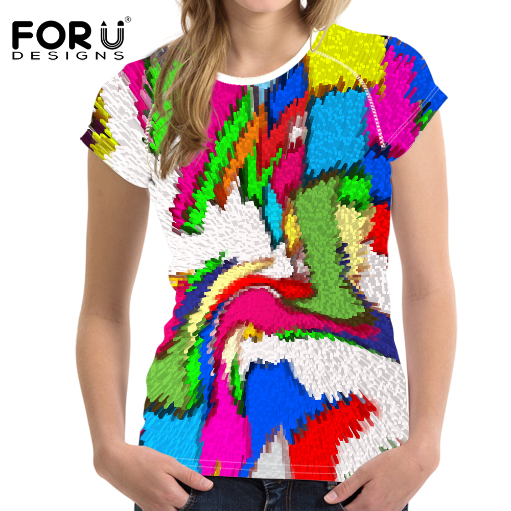 FORUDESIGNS Bright Mixed Color T-Shirt til kvinder Stilfuld Lady - Dametøj - Foto 3