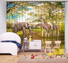 Детские занавески с животными 3d гостиная плотные шторы для