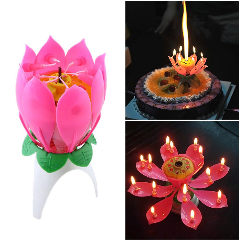 1 PC Joy Singing Music Birthday Candle Monolayer Lotus Candle Flowering Music Candle Light --M25