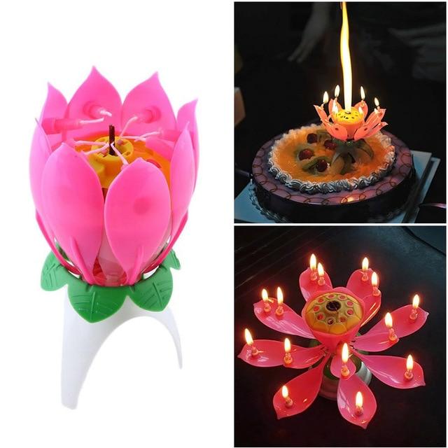 1 PC Joy Singing Music Birthday Candle Monolayer Lotus Flowering Light