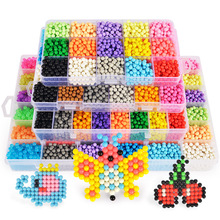 Hot Selling 5mm Aqua Beads DIY 3d Puzzles Toys Set Hama Beads Perler Beads New Year Gift Aquabeads Perlen Learn Kids Toys A61