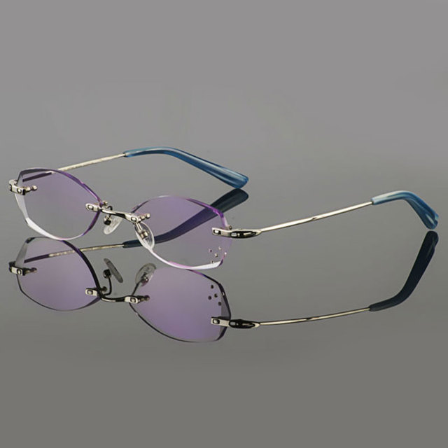 101ada7855 2015 Latest Trimming titanium eyewear female models diamond crystal  trimming Silver rimless finished prescription glasses