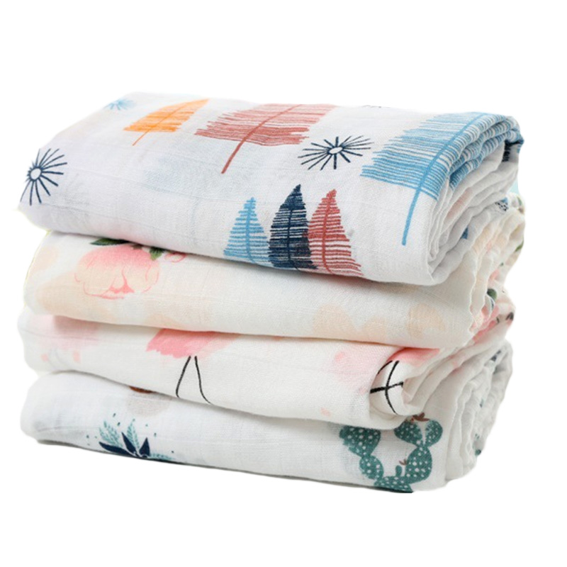 Baby muslin tæppe Nyfødt bomuldsgas Baby swaddling Cover tæpper sengetøj Multifunktionelt Baby Swaddle mønster 120 * 120cm