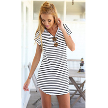 Striped Sea Spirit V-neck short-sleeved dress female dovetail