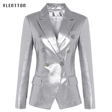 2019 New Silver Womens Pu Leather Jackets Double Breasted Long Sleeve Faux Jacket Coat Spring Slim Office Blazer Women