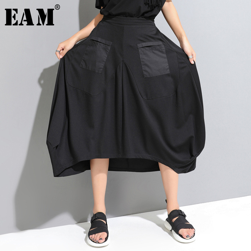 [EAM] 2020 New Spring Summer High Elastic Waist Black Pocket Split Joint Loose Irregular Half-body Skirt Women Fashion JW888