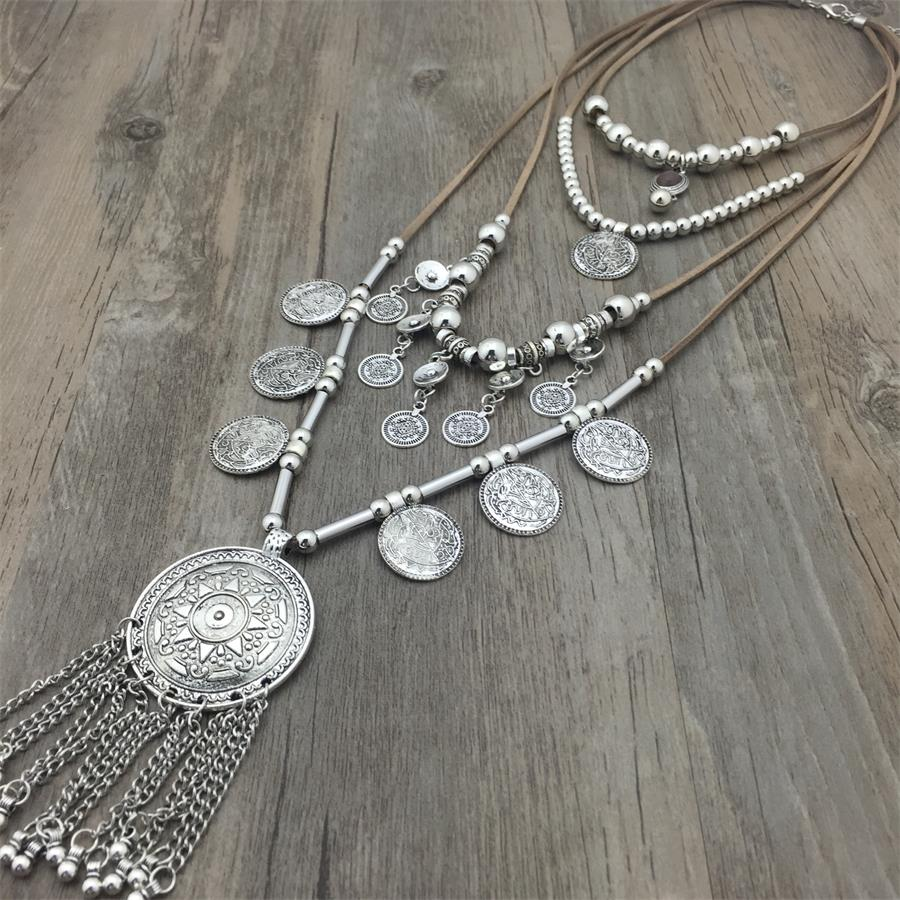 2018 New Arrived Handmade India Silver Coin Pendants Long String Leather necklaces Ethnic Jewelry for Woman party Gift