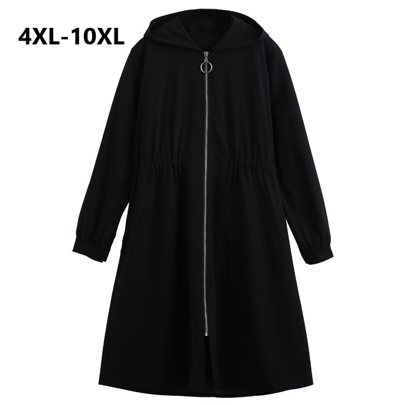 Plus Size 10XL Women Windbreaker Coat 2018 Autumn Winter Slim Long Trench Coats Women Black Hooded