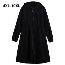 Plus Size 10XL Vrouwen Windjack Jas 2018 Herfst Winter Slanke Lange Trenchcoats Vrouwen Zwart Hooded Overjas Trenchcoat Vrouwen