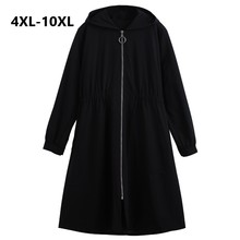 Trench Coat noir pour femmes, grande taille 10XL, manteau automne hiver, Long Slim, Trench Coat noir pour femmes, 2018