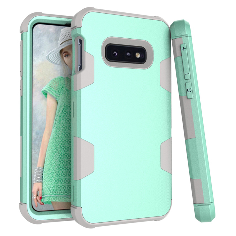 3-in-1 Dual Layer PC+Silicon Shock Resistant Phone Cases for Samsung Galaxy S10E G9700 5.8 Contrast color & Lifted Bezel Design image