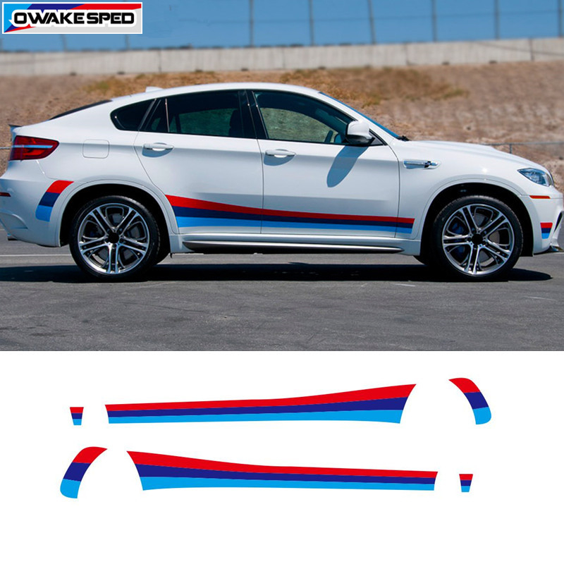 Tricolor Sport Stripes Car Door Side Skirt Sticker Vinyl Decal Auto Body Exterior Accessories For BMW M3 M4 M5 M6 X5M X6M
