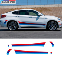 Tricolor Sport Styling Car Door Side Skirt Stripes Vinyl Decal Sticker Auto Body Customized Stickers For BMW M3 M4 M5 M6 X5M X6M