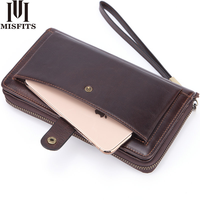 MISFITS Luxury Brand Men's Long Wallet 100% Genuine Leather Clutch Wallet For Male Card Holder Travel Purse Phone Case Carteira