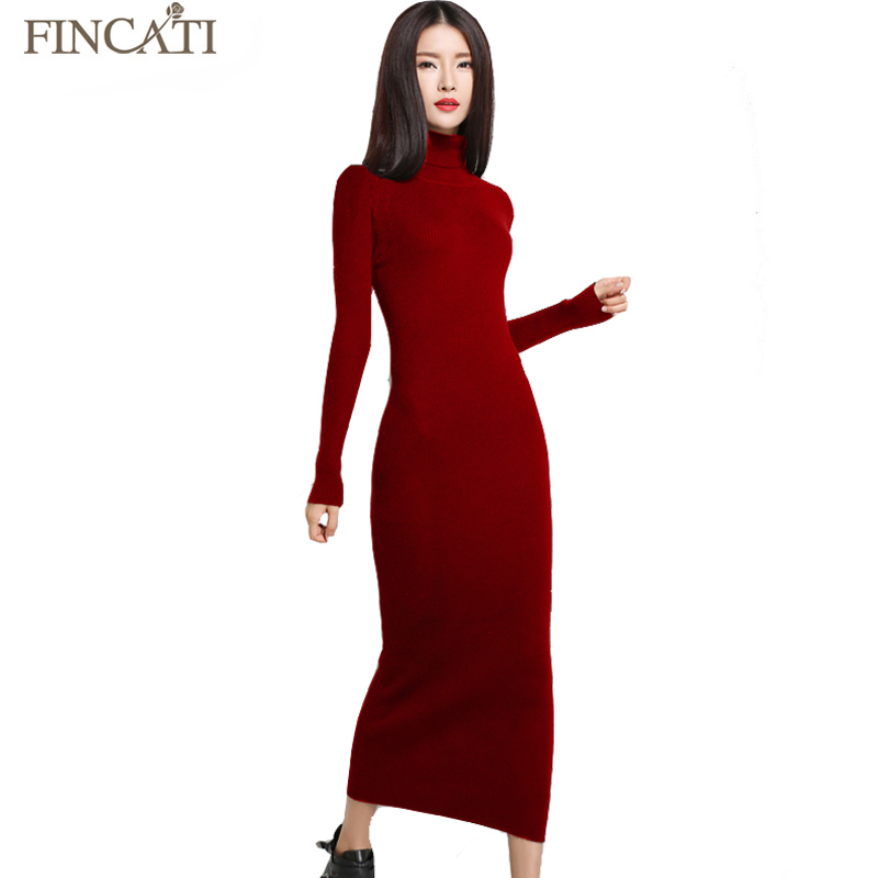 Fincati Women Autumn Winter Turtleneck Long Sleeve Slim Sexy Cashmere Blend Dress Solid Color Ankle-Length Evening Party Dresses fashion 2018 women autumn winter sweater dresses slim turtleneck sexy bodycon solid color robe long knitted office ol dress 1089