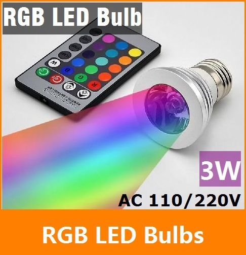 RGB LED Lamp 3W E27 90-240V 16 Colors changing RGB LED Bulb Lamp Spot Light with Remote Control e14 3w 90 240v multi color remote controlled rgb dimmable led cup led spot light aluminum alloy house decor lamp