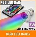 RGB LED Lamp 3W E27 90-240V 16 Colors changing RGB LED Bulb Lamp Spot Light with Remote Control