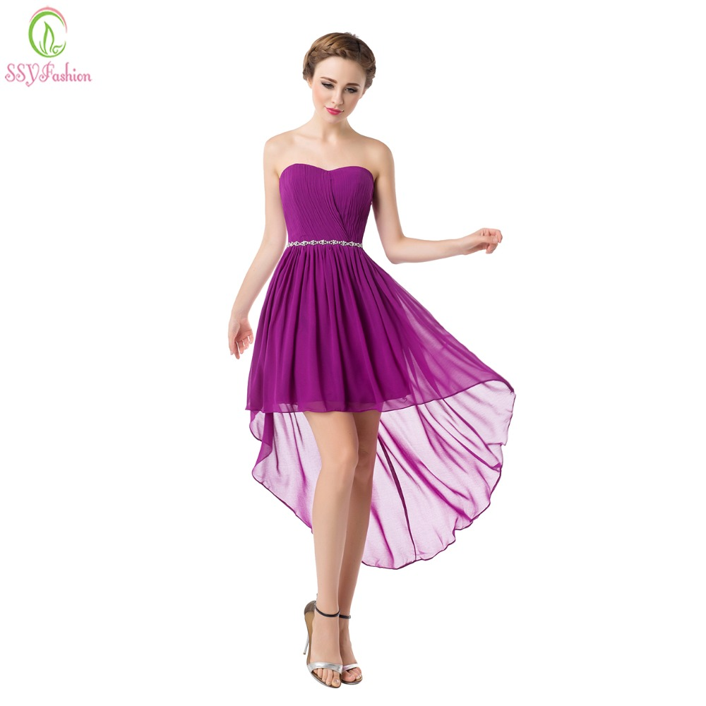 2199 20 De Descuentossyfashion Vestidos De Dama De Honor Cortos De Gasa Sweetheart Sin Tirantes Asimetría De Encaje Vestido Formal De Talla Grande