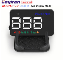 """Universal 2 Modo de Visualización A5 3.5 """"GPS Auto Car Head Up Display HUD Velocímetro Dashboard Del Parabrisas Del Proyector Sobrevelocidad Advertencia"""