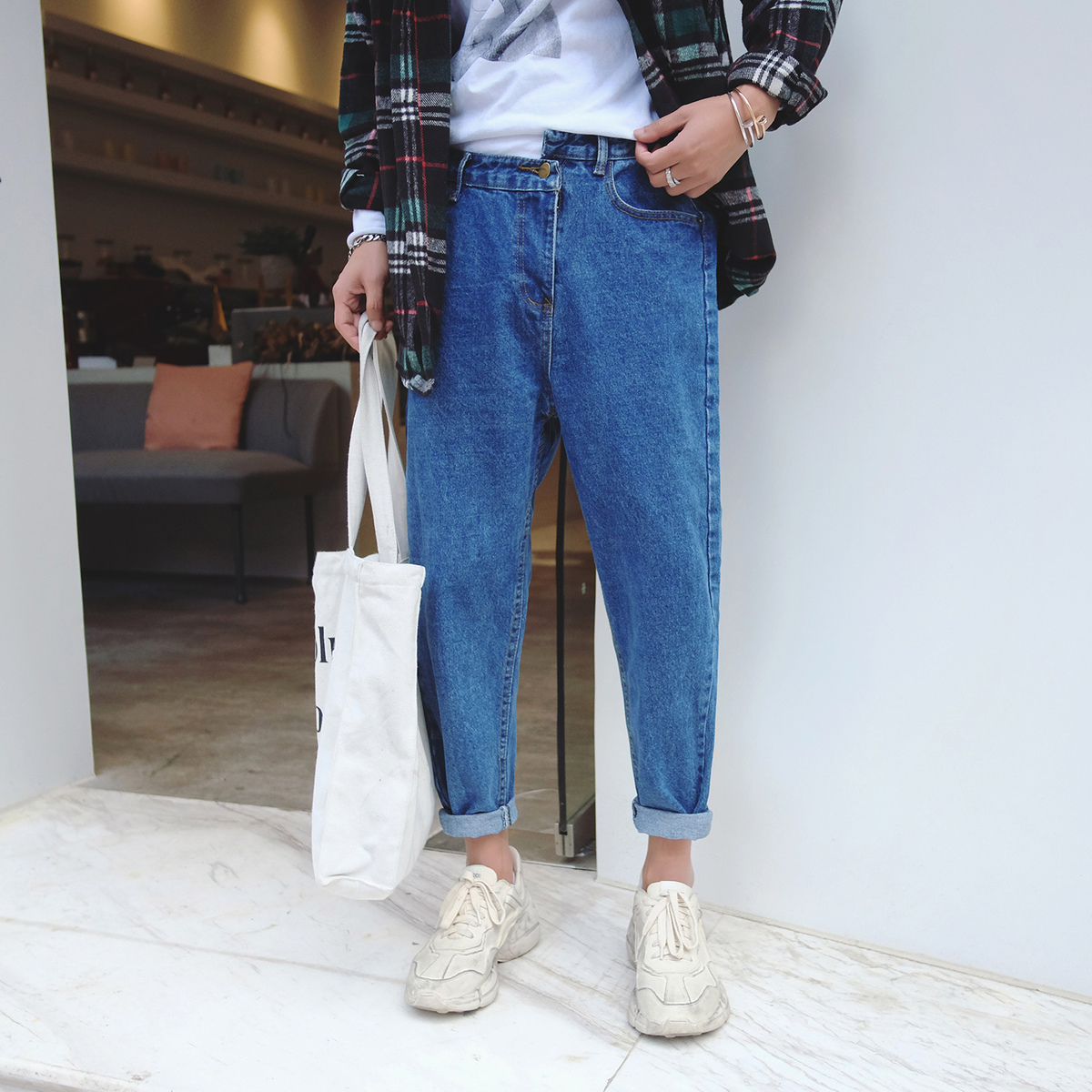 2018 New Men Fashion Casual Blue/grey Bound Feet Cowboy Haren Pants Stretch Wash Jeans Youth Homme Denim Ankle-length Trousers